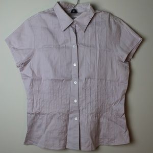 Calvin Klein Pintucked Short Sleeve Button Down